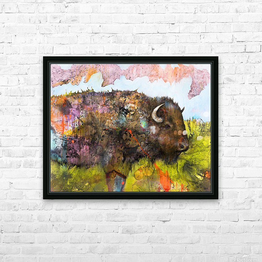 Illustration of a buffalo with colourful splashes and landscape HD Sublimation Metal print with Decorating Float Frame (BOX)