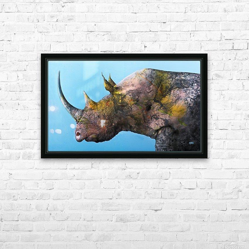 Illustration of a white rhinoceros against a blue background HD sublimation métal imprimé avec décoration flotteur cadre (boîte)