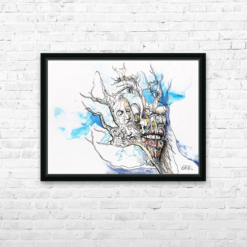 Illustration of a human face with a composite of other faces on the surface HD Sublimation Metal print with Decorating Float Frame (BOX)