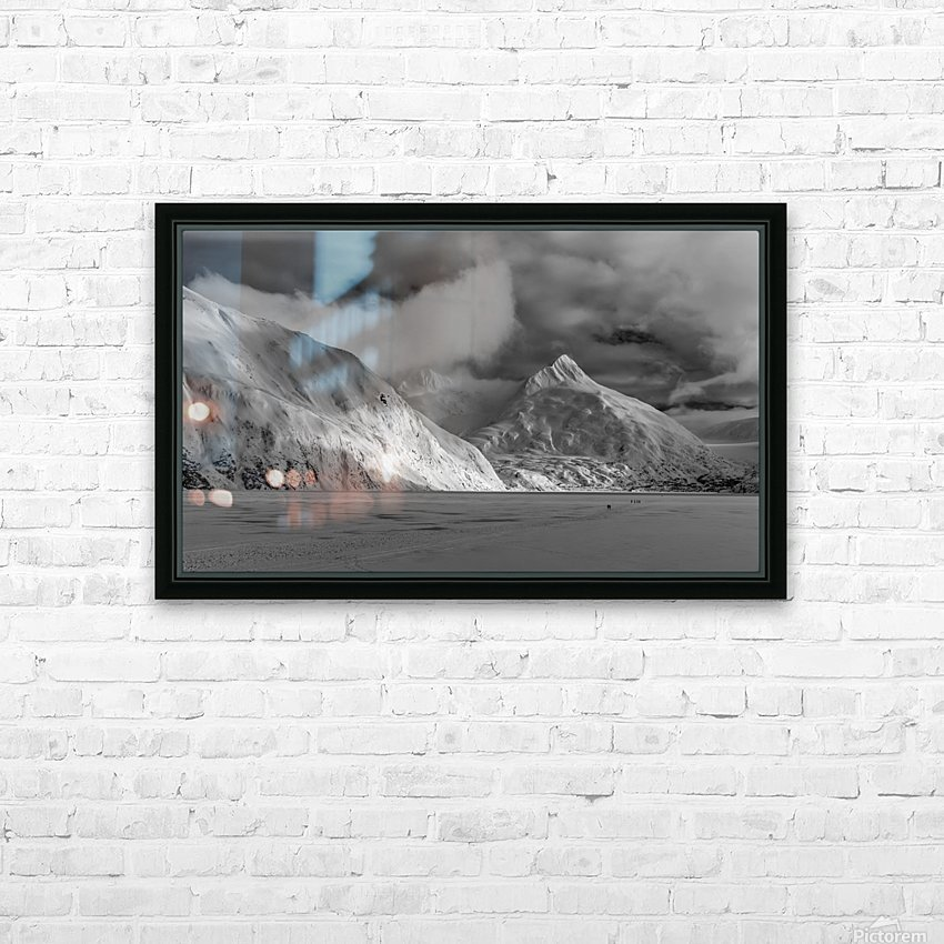 Hikers make the trek to Portage Glacier on Portage Lake in winter, South-central Alaska; Alaska, United States of America HD Sublimation Metal print with Decorating Float Frame (BOX)