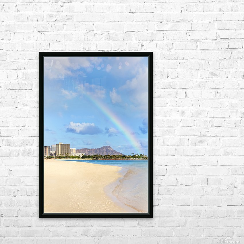View of Waikiki beach and Diamond Head crater at Ala Moana Beach Park with a rainbow overhead; Honolulu, Oahu, Hawaii, United States of America HD Sublimation Metal print with Decorating Float Frame (BOX)