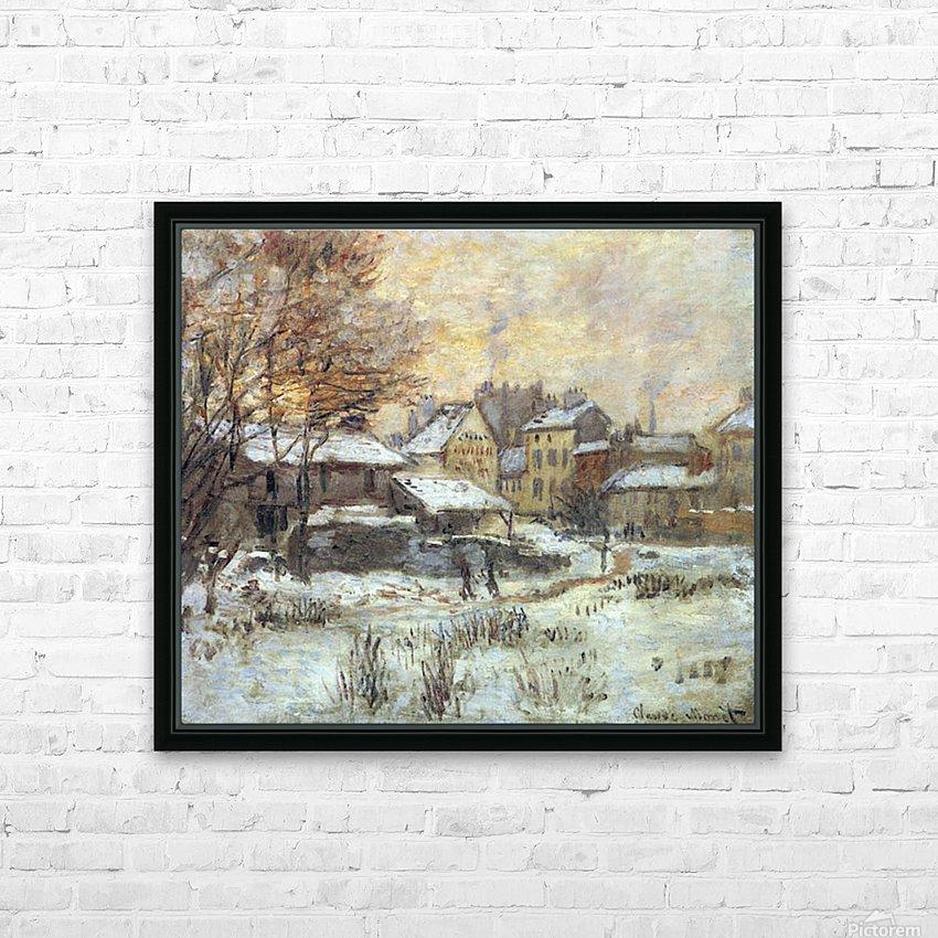 Snow at sunset, Argenteuil in the snow by Monet HD sublimation métal imprimé avec décoration flotteur cadre (boîte)