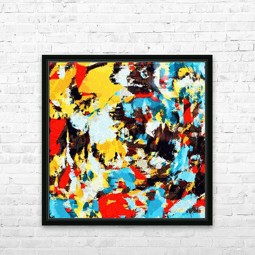 psychedelic geometric splash painting abstract pattern in yellow red blue brown HD Sublimation Metal print with Decorating Float Frame (BOX)
