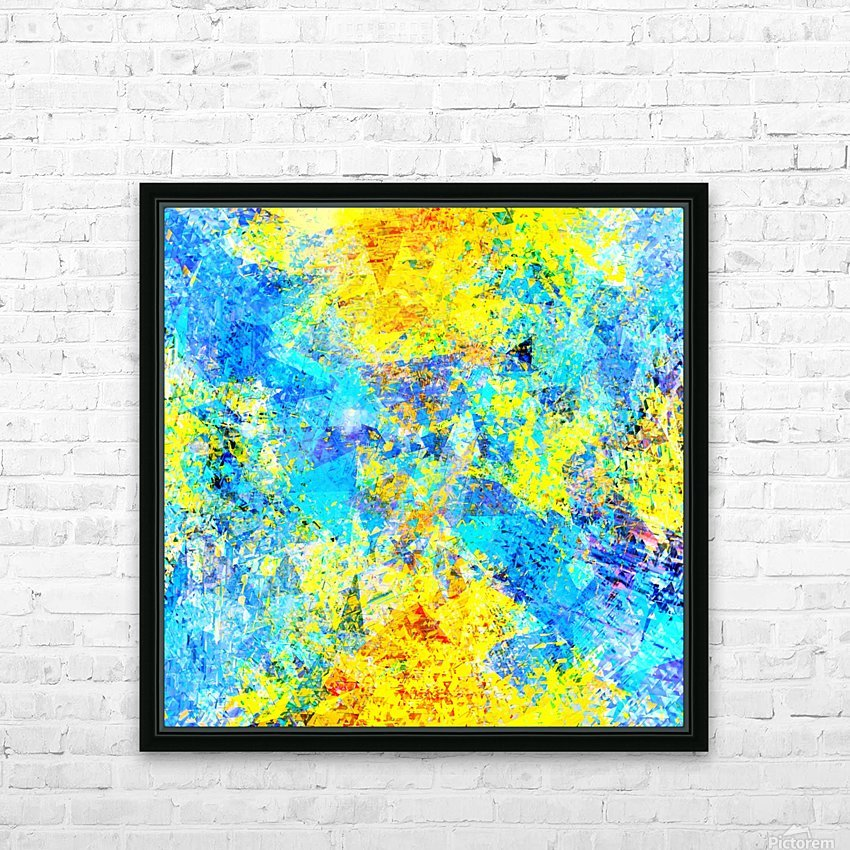 psychedelic geometric abstract pattern in yellow and blue HD Sublimation Metal print with Decorating Float Frame (BOX)