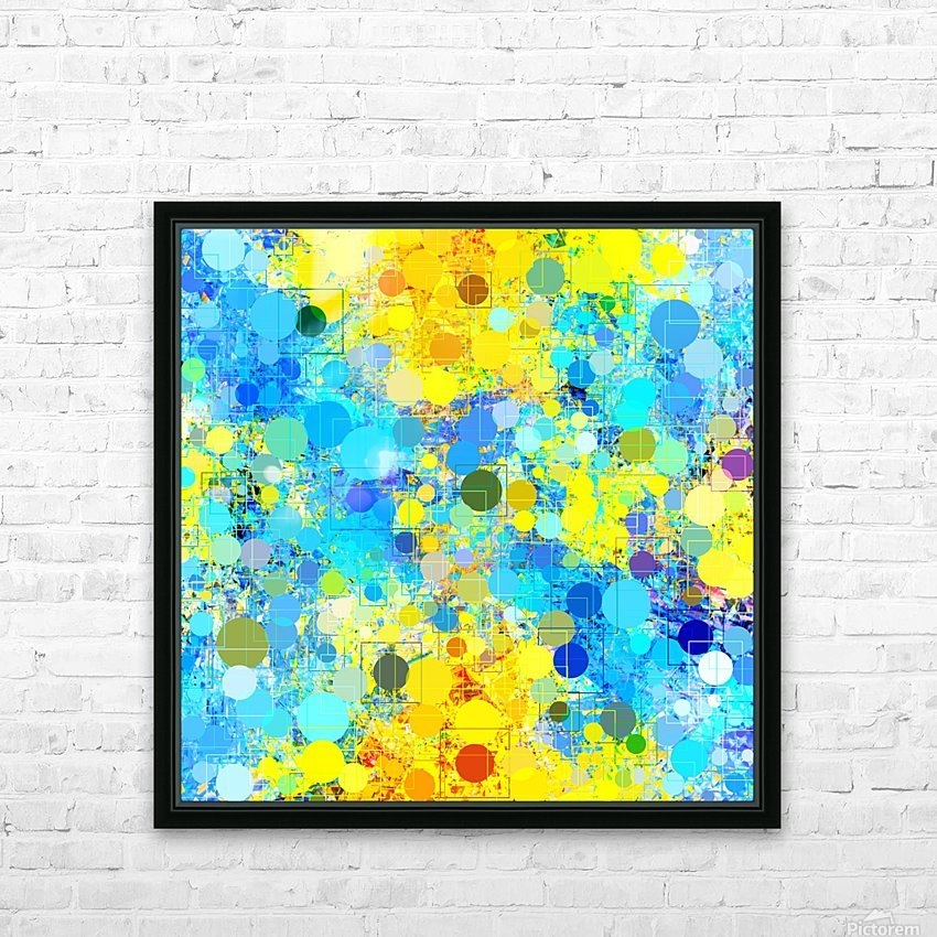 psychedelic geometric circle pattern and square pattern abstract in yellow and blue HD Sublimation Metal print with Decorating Float Frame (BOX)