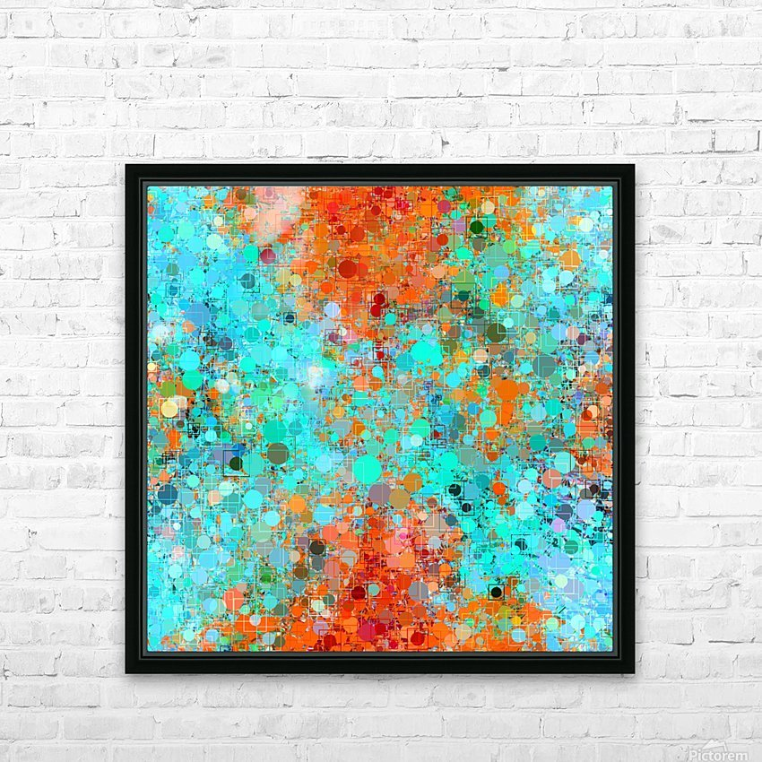 psychedelic geometric circle pattern and square pattern abstract in orange and blue HD Sublimation Metal print with Decorating Float Frame (BOX)