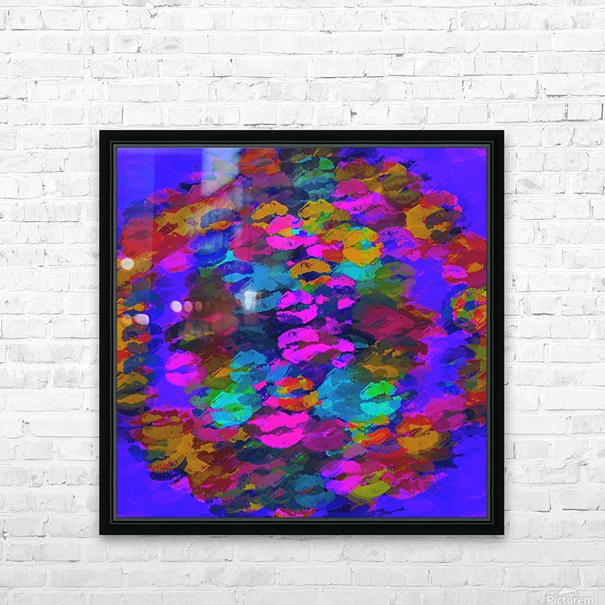 sexy kiss lipstick abstract pattern in pink blue orange red HD Sublimation Metal print with Decorating Float Frame (BOX)