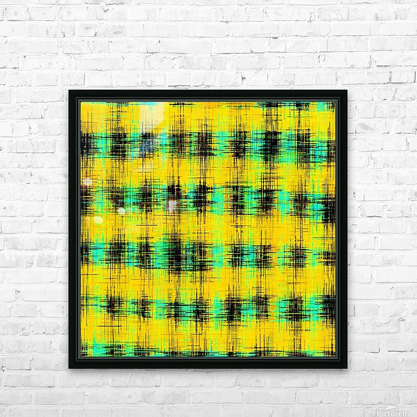 plaid pattern abstract texture in yellow green black HD Sublimation Metal print with Decorating Float Frame (BOX)