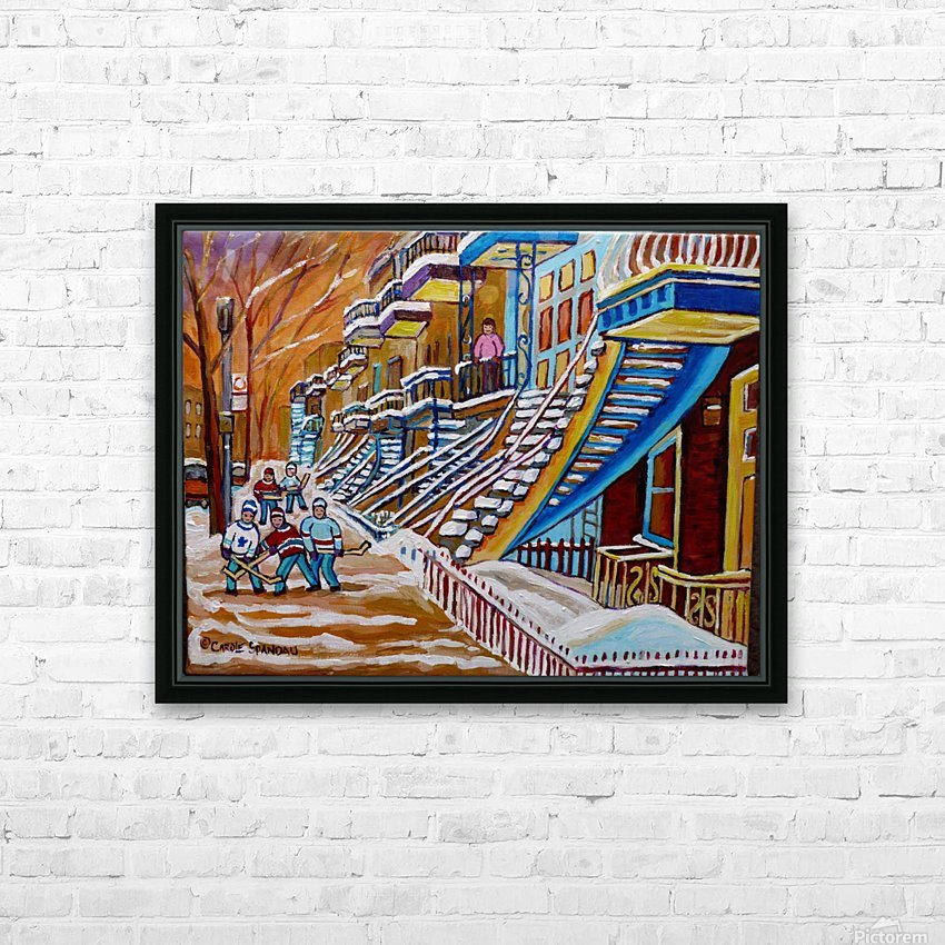 MONTREAL WINTER SCENE HOCKEY GAME NEAR THE BLUE STAIRCASE HD Sublimation Metal print with Decorating Float Frame (BOX)