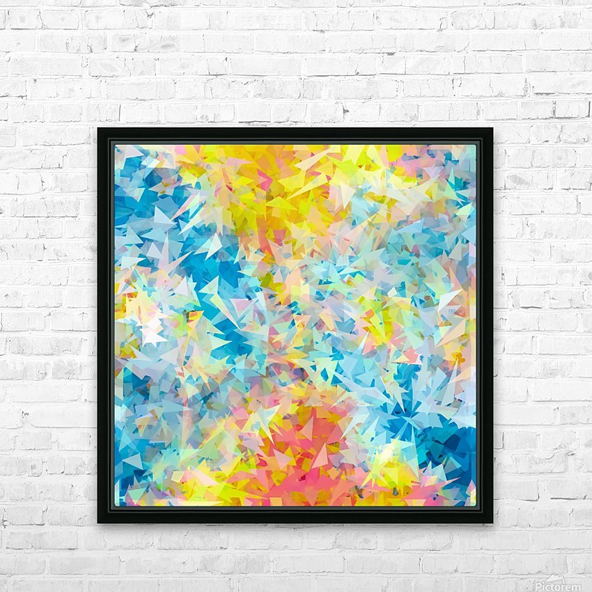 psychedelic geometric triangle abstract pattern in blue pink yellow HD Sublimation Metal print with Decorating Float Frame (BOX)