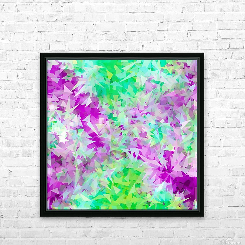 psychedelic geometric triangle abstract pattern in purple and green HD Sublimation Metal print with Decorating Float Frame (BOX)