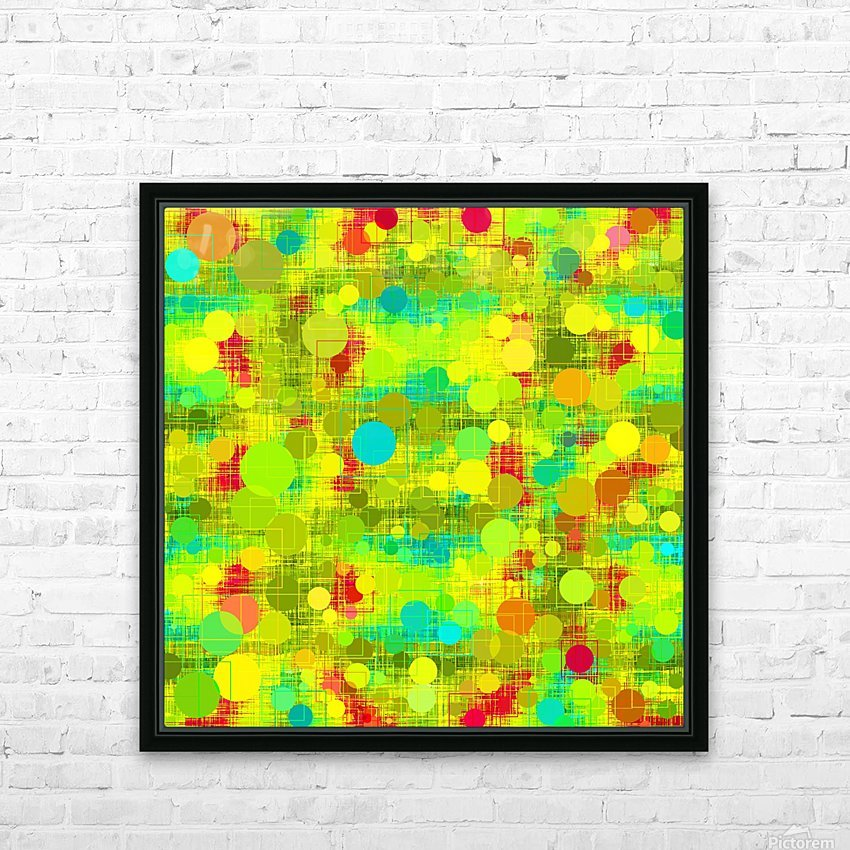 psychedelic geometric circle and square pattern abstract in yellow green blue red HD Sublimation Metal print with Decorating Float Frame (BOX)