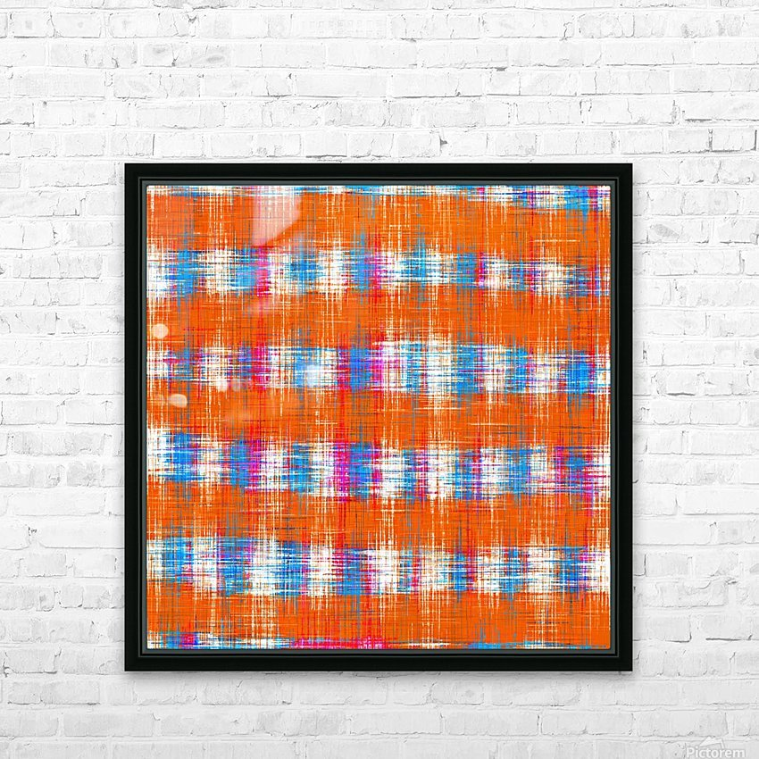 plaid pattern abstract texture in orange blue pink HD Sublimation Metal print with Decorating Float Frame (BOX)