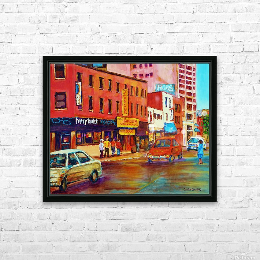 RUE ST LAURENT MONTREAL CINEMA LAMOUR HD Sublimation Metal print with Decorating Float Frame (BOX)