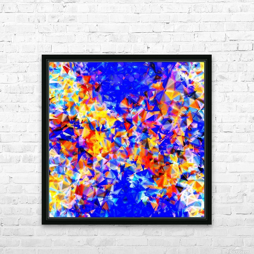 psychedelic geometric triangle abstract pattern in blue orange yellow HD Sublimation Metal print with Decorating Float Frame (BOX)
