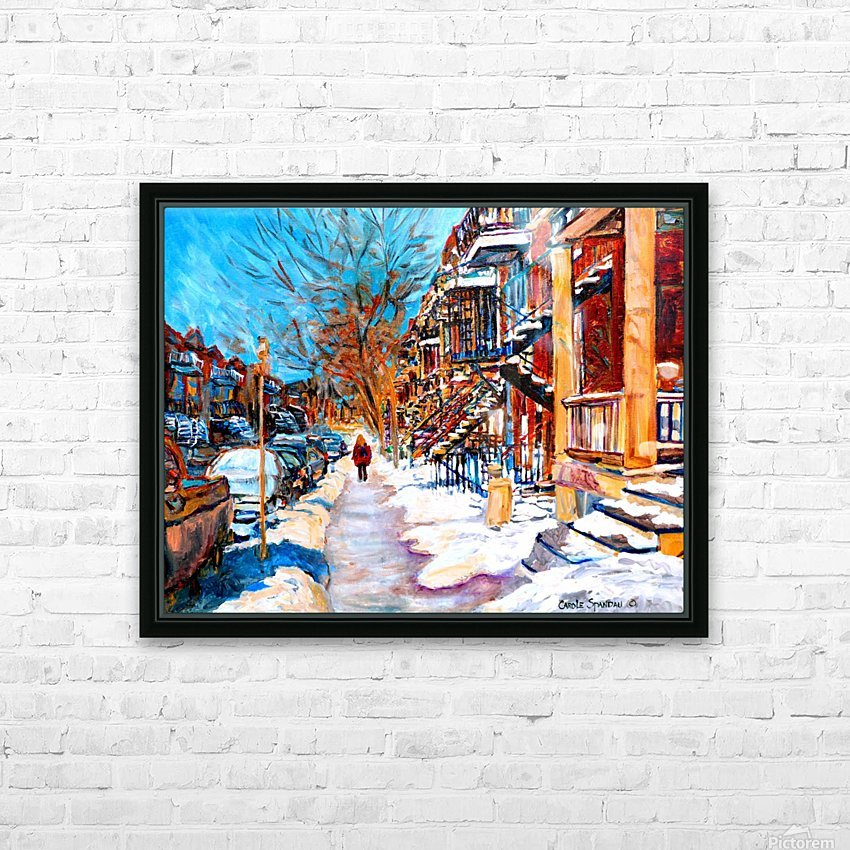 MONTREAL STREET IN WINTER HD Sublimation Metal print with Decorating Float Frame (BOX)