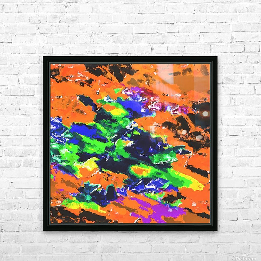 psychedelic splash painting abstract texture in brown green blue yellow pink HD Sublimation Metal print with Decorating Float Frame (BOX)