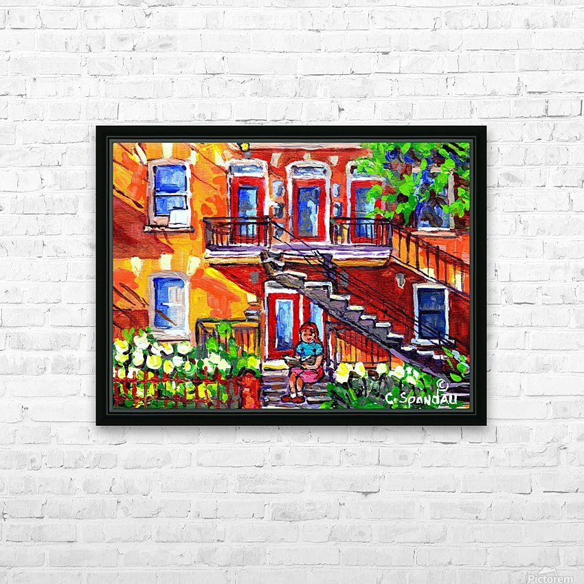 MONTREAL SUMMER SCENE GIRL READING HD Sublimation Metal print with Decorating Float Frame (BOX)