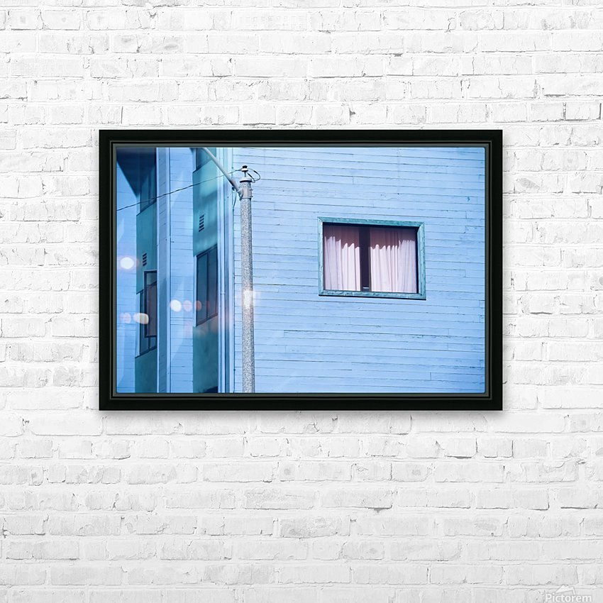 vintage blue wood building with window and electric pole HD Sublimation Metal print with Decorating Float Frame (BOX)