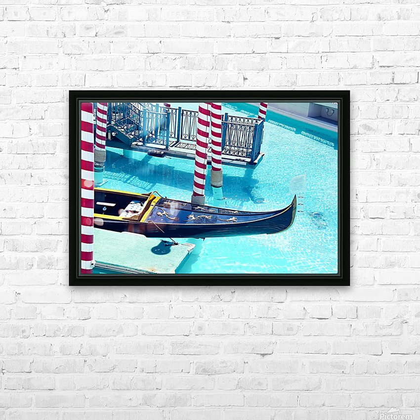 Classic Gondola boat and blue water HD Sublimation Metal print with Decorating Float Frame (BOX)