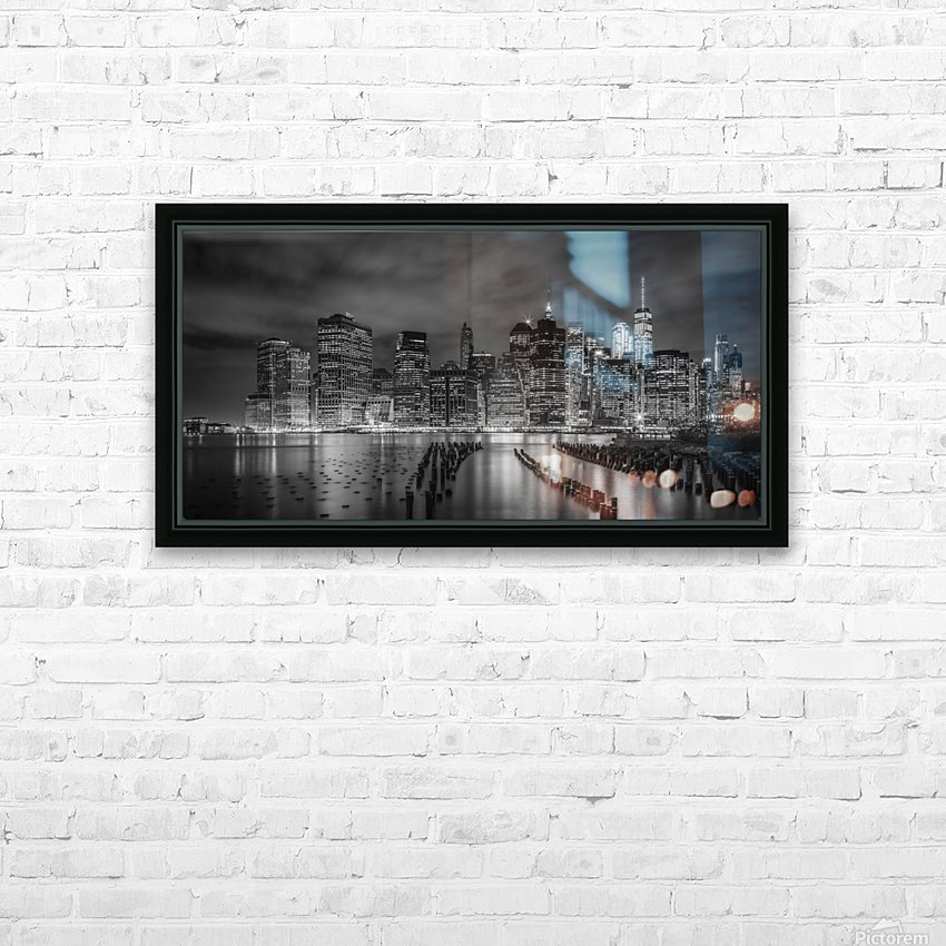 NEW YORK CITY Monochrome Night Impressions | Panoramic HD Sublimation Metal print with Decorating Float Frame (BOX)