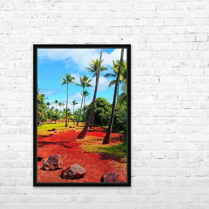 palm trees with green tree and blue cloudy sky in summer HD Sublimation Metal print with Decorating Float Frame (BOX)