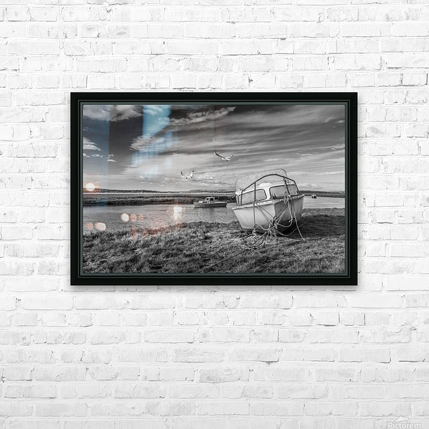 Loughor Estuary boats Wales HD Sublimation Metal print with Decorating Float Frame (BOX)