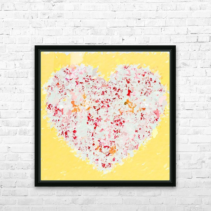 pink and red heart shape with yellow background HD Sublimation Metal print with Decorating Float Frame (BOX)