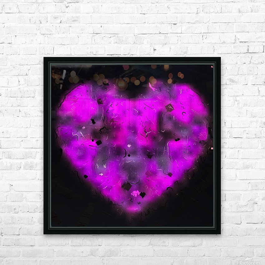 pink blurry heart shape with black background HD Sublimation Metal print with Decorating Float Frame (BOX)