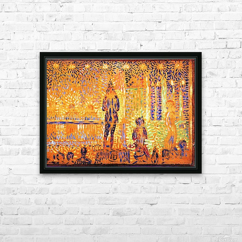 Study of the circus parade by Seurat HD Sublimation Metal print with Decorating Float Frame (BOX)