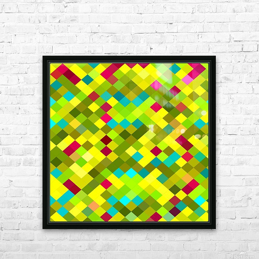 geometric square pixel pattern abstract in yellow red green blue HD Sublimation Metal print with Decorating Float Frame (BOX)