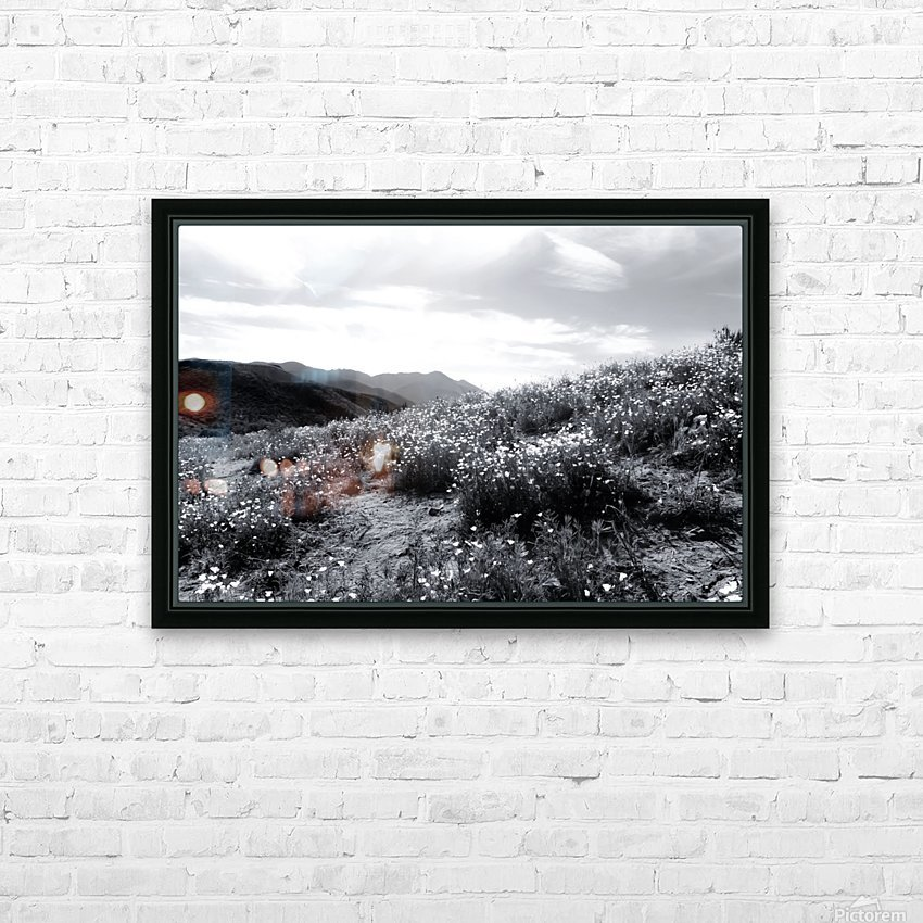 poppy flower field with mountain and cloudy sky in black and white HD Sublimation Metal print with Decorating Float Frame (BOX)