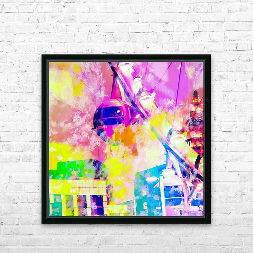 Ferris wheel and modern building at Las Vegas, USA with colorful painting abstract background HD Sublimation Metal print with Decorating Float Frame (BOX)