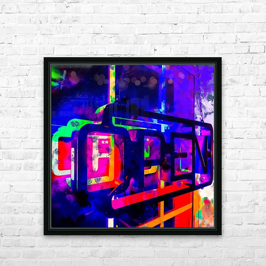 OPEN neon sign with pink purple red and blue painting abstract background HD Sublimation Metal print with Decorating Float Frame (BOX)