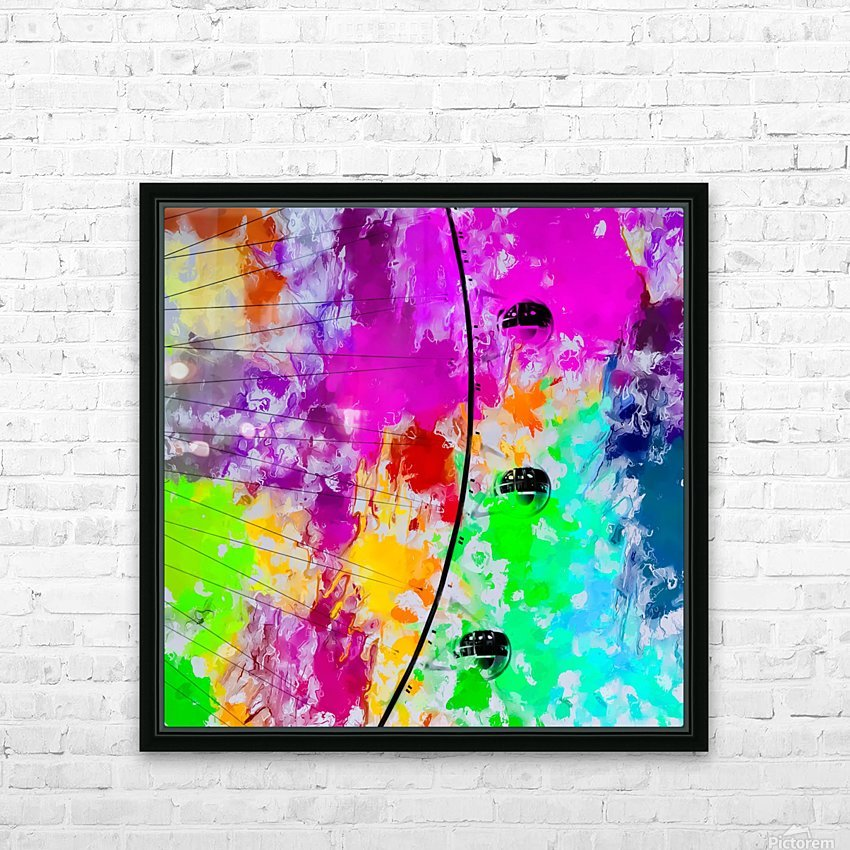 ferris wheel with pink blue green red yellow painting abstract background HD Sublimation Metal print with Decorating Float Frame (BOX)