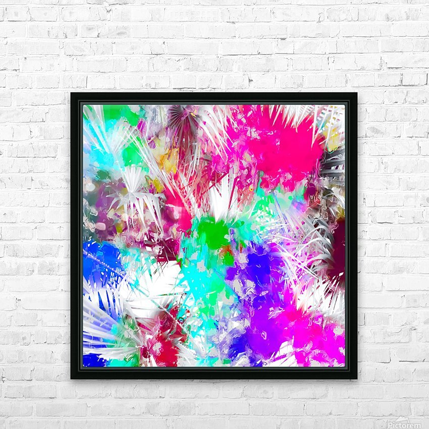 palm leaf with colorful painting abstract background in pink blue green purple HD Sublimation Metal print with Decorating Float Frame (BOX)
