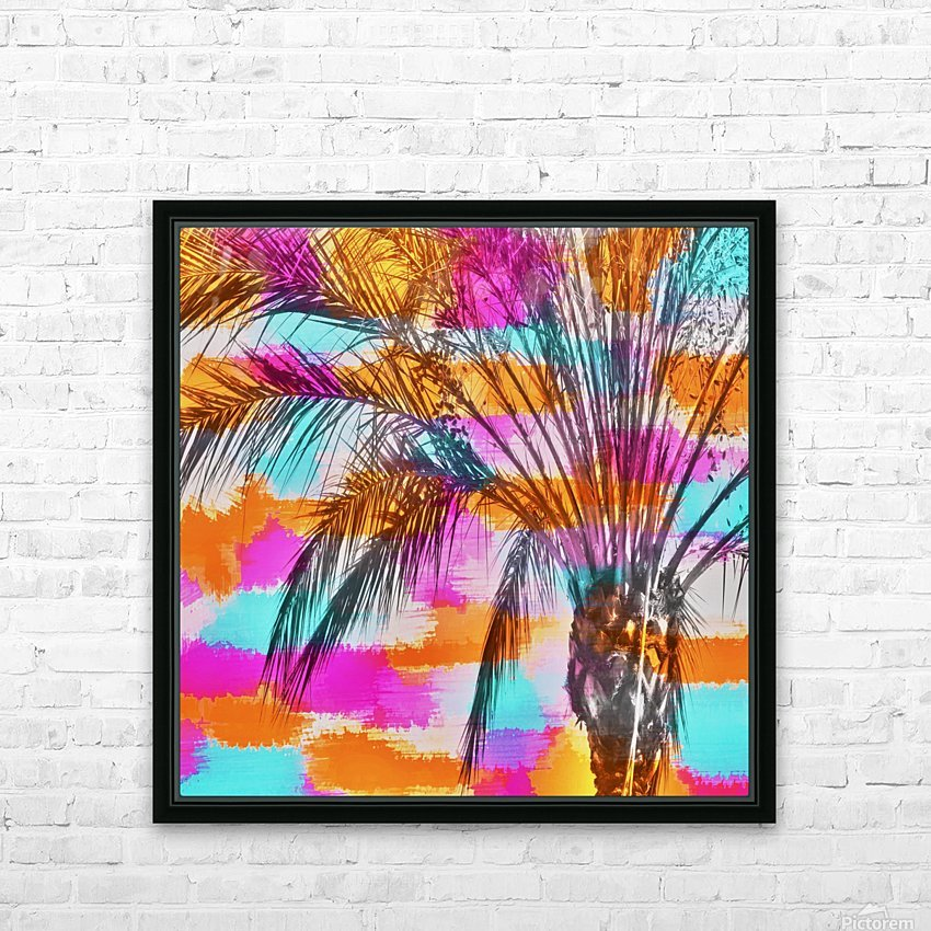 palm tree with colorful painting abstract background in pink orange blue HD Sublimation Metal print with Decorating Float Frame (BOX)