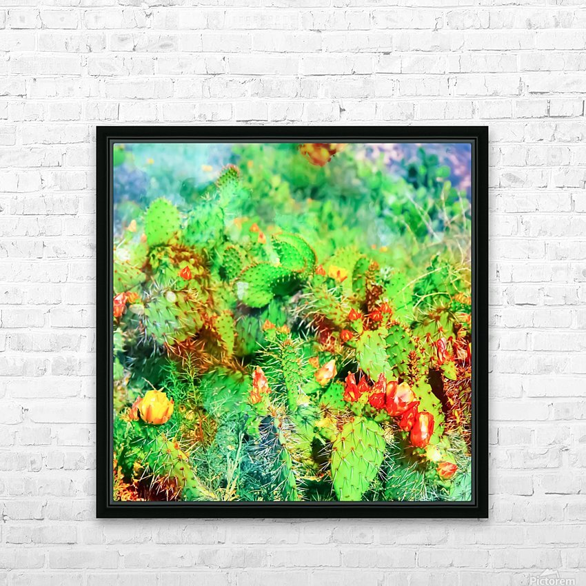 green cactus with yellow and red flower in the desert HD Sublimation Metal print with Decorating Float Frame (BOX)