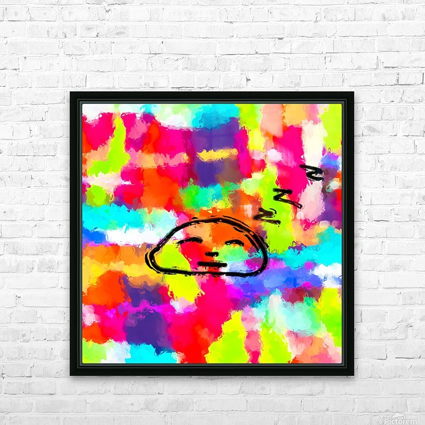 sleeping cartoon face with painting abstract background in red pink yellow blue orange HD Sublimation Metal print with Decorating Float Frame (BOX)