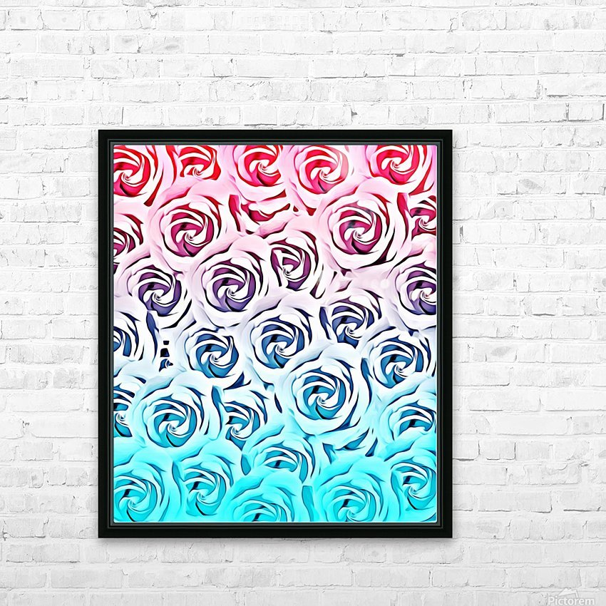 blooming rose pattern texture abstract background in pink and blue HD Sublimation Metal print with Decorating Float Frame (BOX)