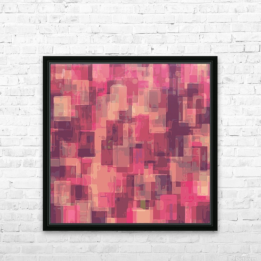 psychedelic geometric square pattern abstract in pink and purple HD Sublimation Metal print with Decorating Float Frame (BOX)