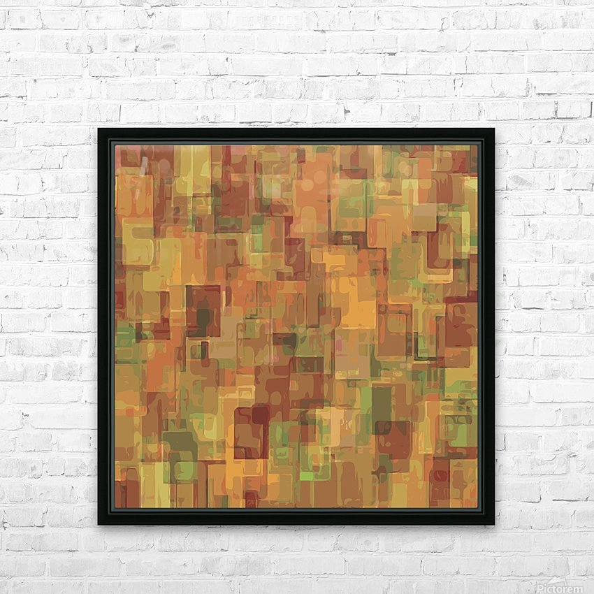 vintage psychedelic geometric square pattern abstract in brown and green HD Sublimation Metal print with Decorating Float Frame (BOX)