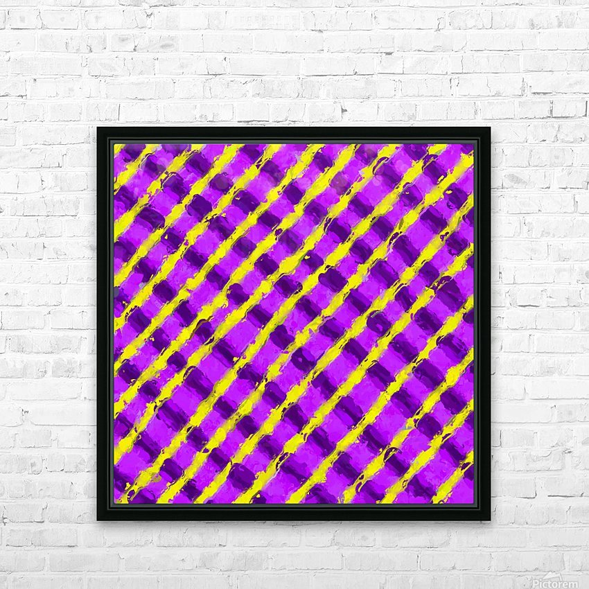 line pattern painting abstract background in purple and yellow HD Sublimation Metal print with Decorating Float Frame (BOX)