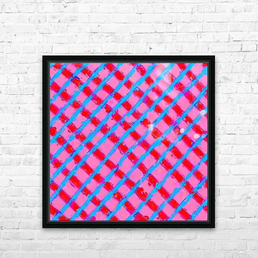 line pattern painting abstract background in pink red blue HD sublimation métal imprimé avec décoration flotteur cadre (boîte)