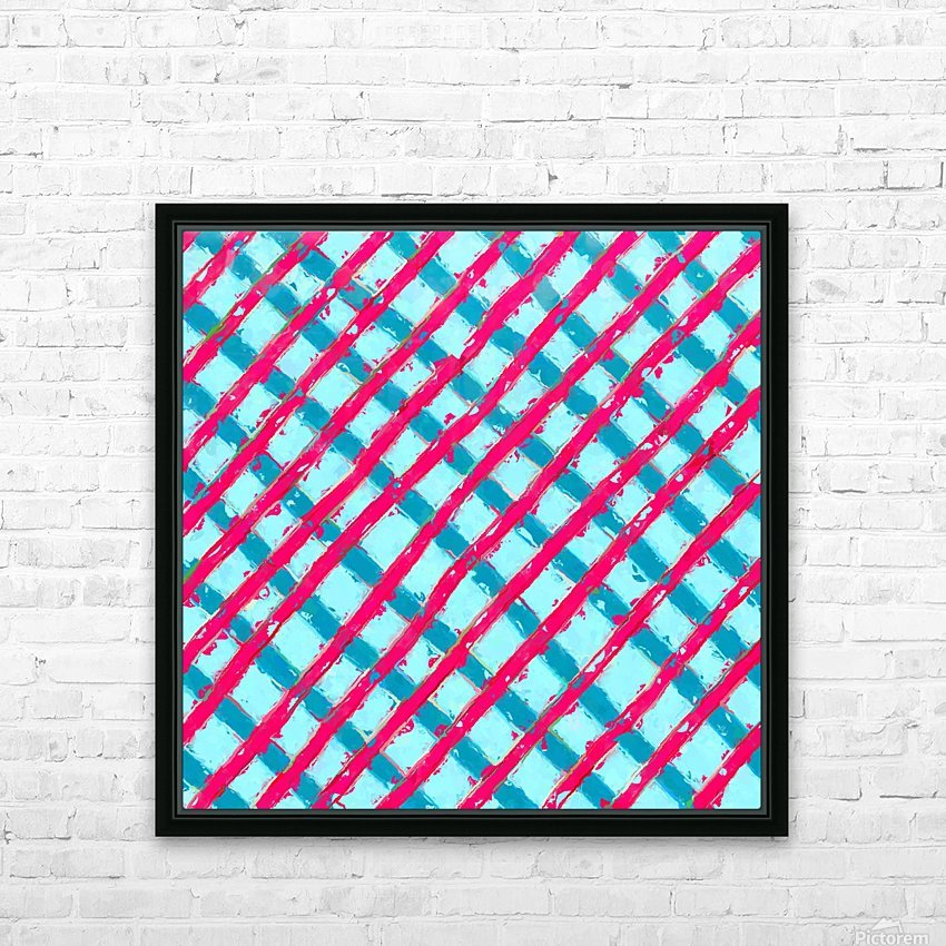line pattern painting abstract background in blue and red HD Sublimation Metal print with Decorating Float Frame (BOX)