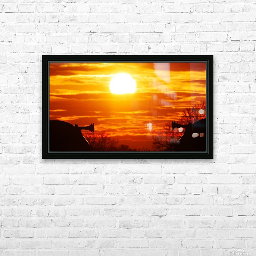 Train horn sunset HD Sublimation Metal print with Decorating Float Frame (BOX)