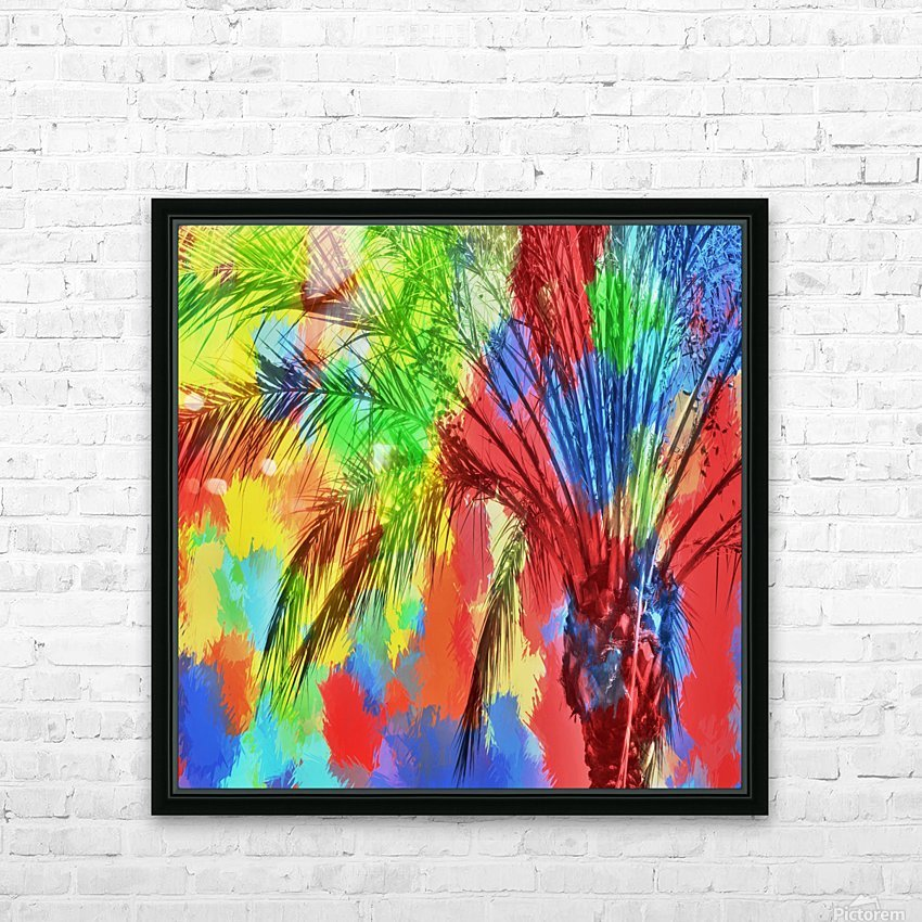 isolate palm tree with painting abstract background in red blue green yellow HD Sublimation Metal print with Decorating Float Frame (BOX)