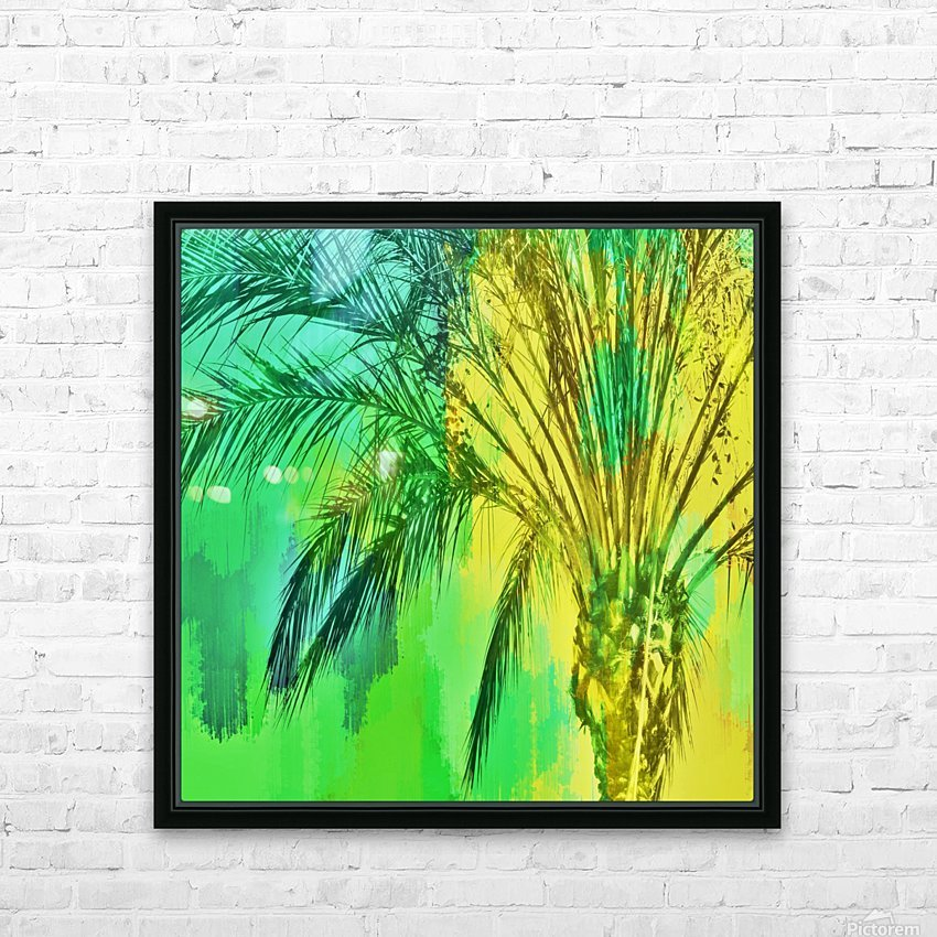 isolate palm tree with painting abstract background in green yellow HD Sublimation Metal print with Decorating Float Frame (BOX)