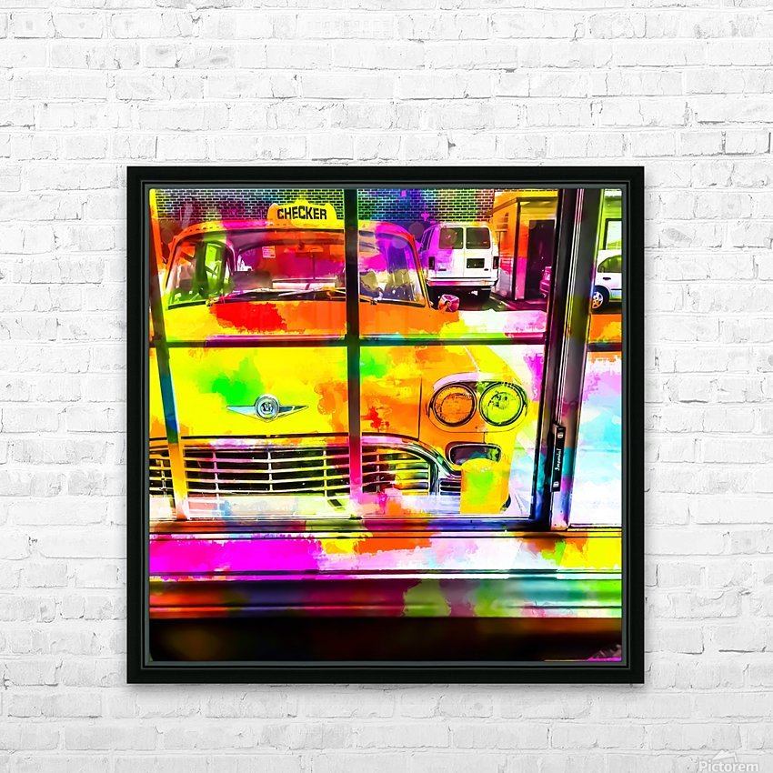 yellow classic taxi car with colorful painting abstract in pink orange green HD Sublimation Metal print with Decorating Float Frame (BOX)