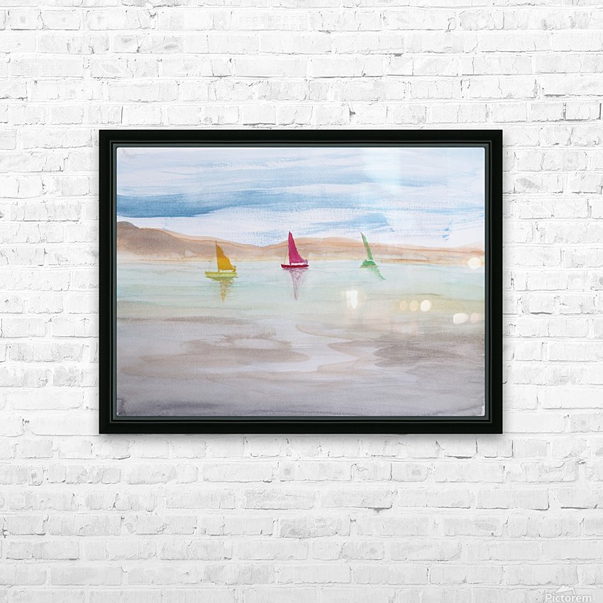Three sailboats. HD Sublimation Metal print with Decorating Float Frame (BOX)